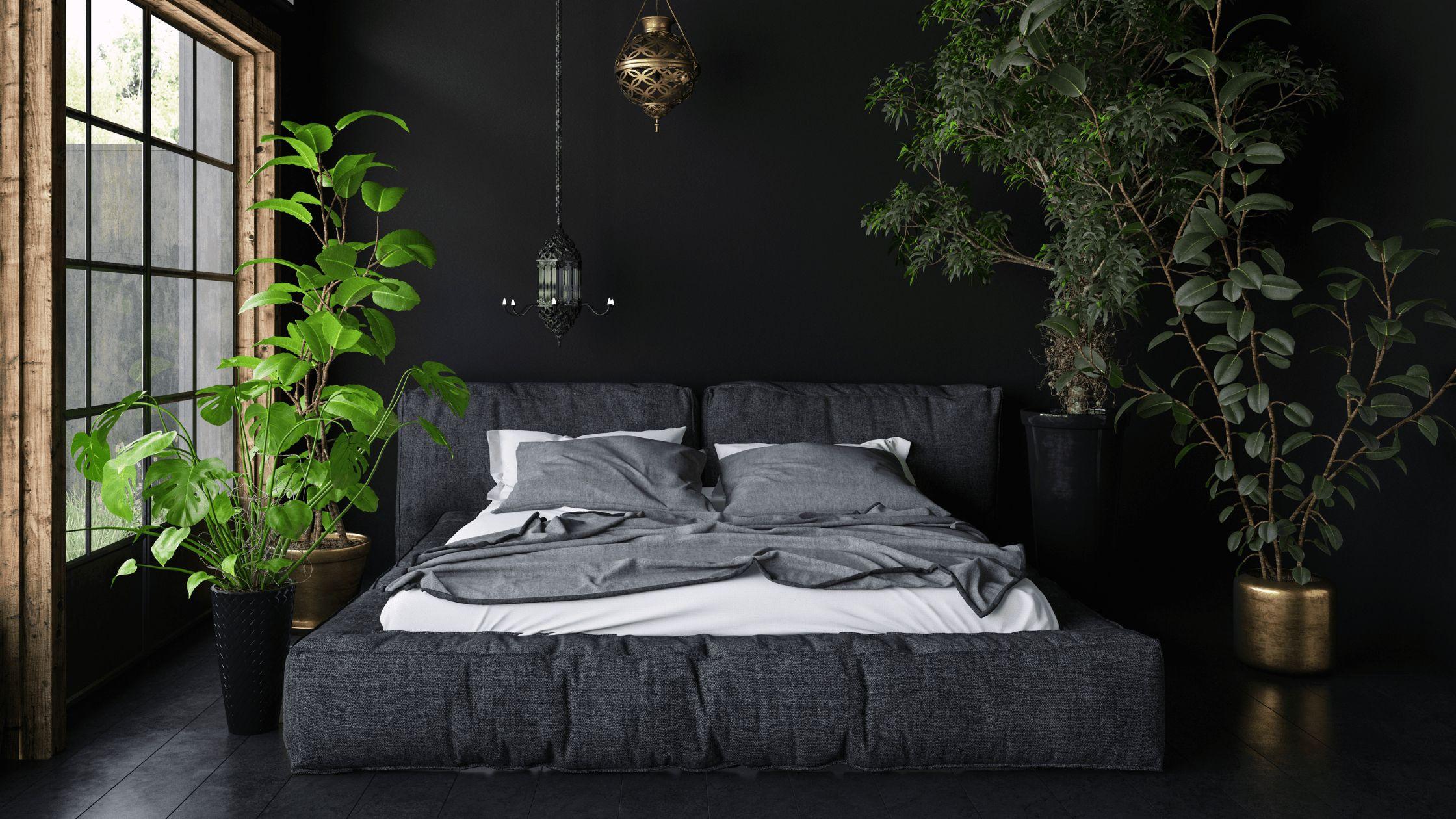 bedroom with dark walls