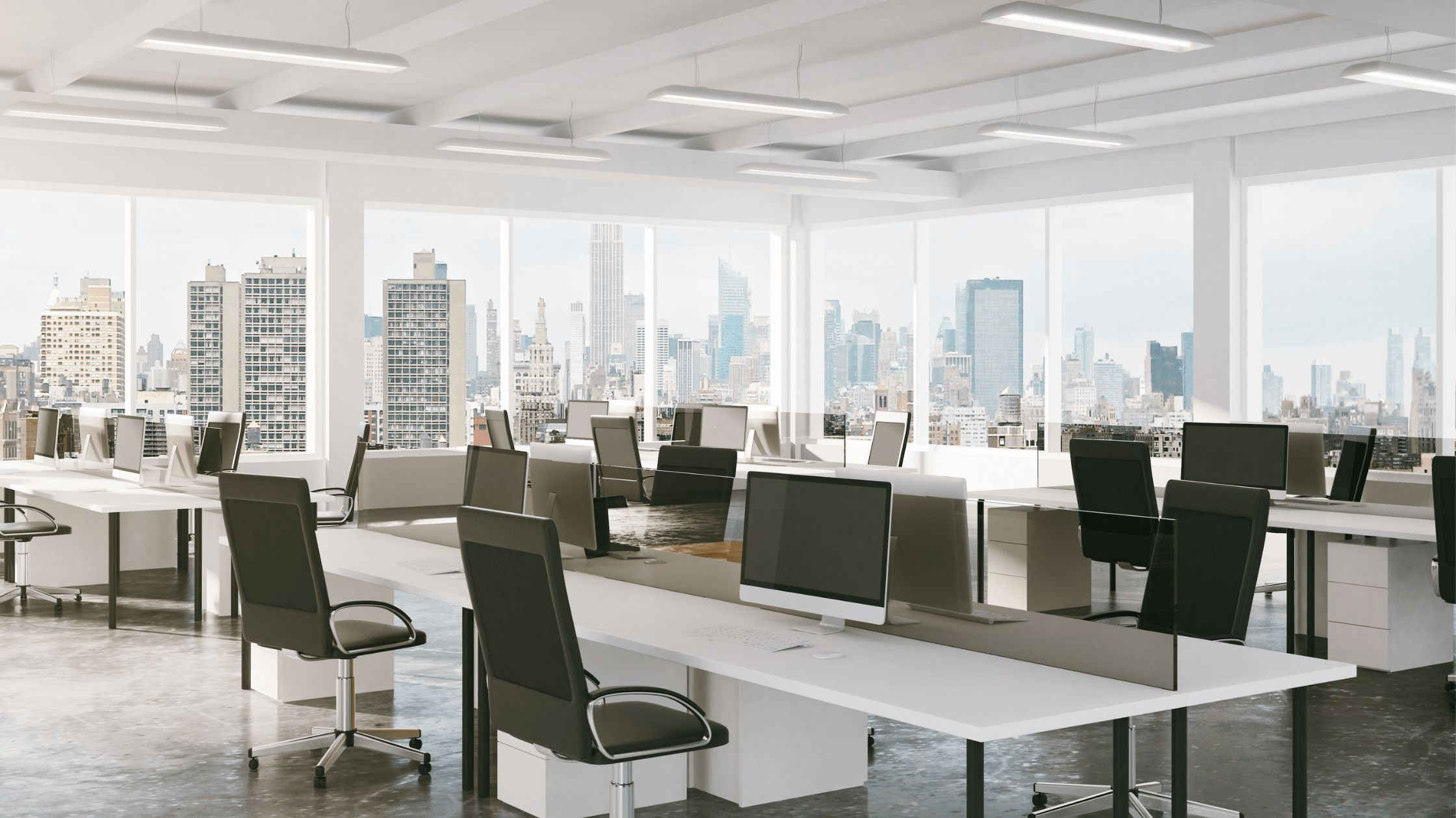 brightly lit work office with white walls
